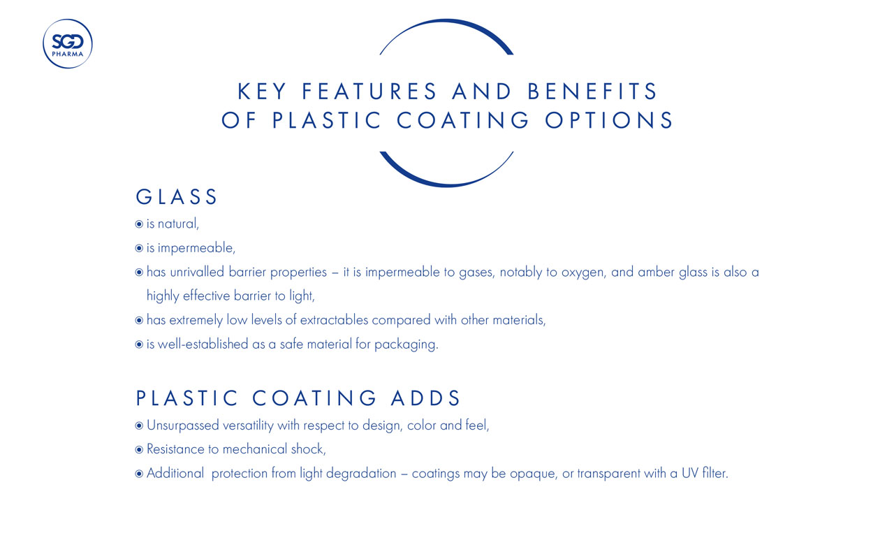 Plastic coating and printing options for glass packaging - SGD Pharma - 504243